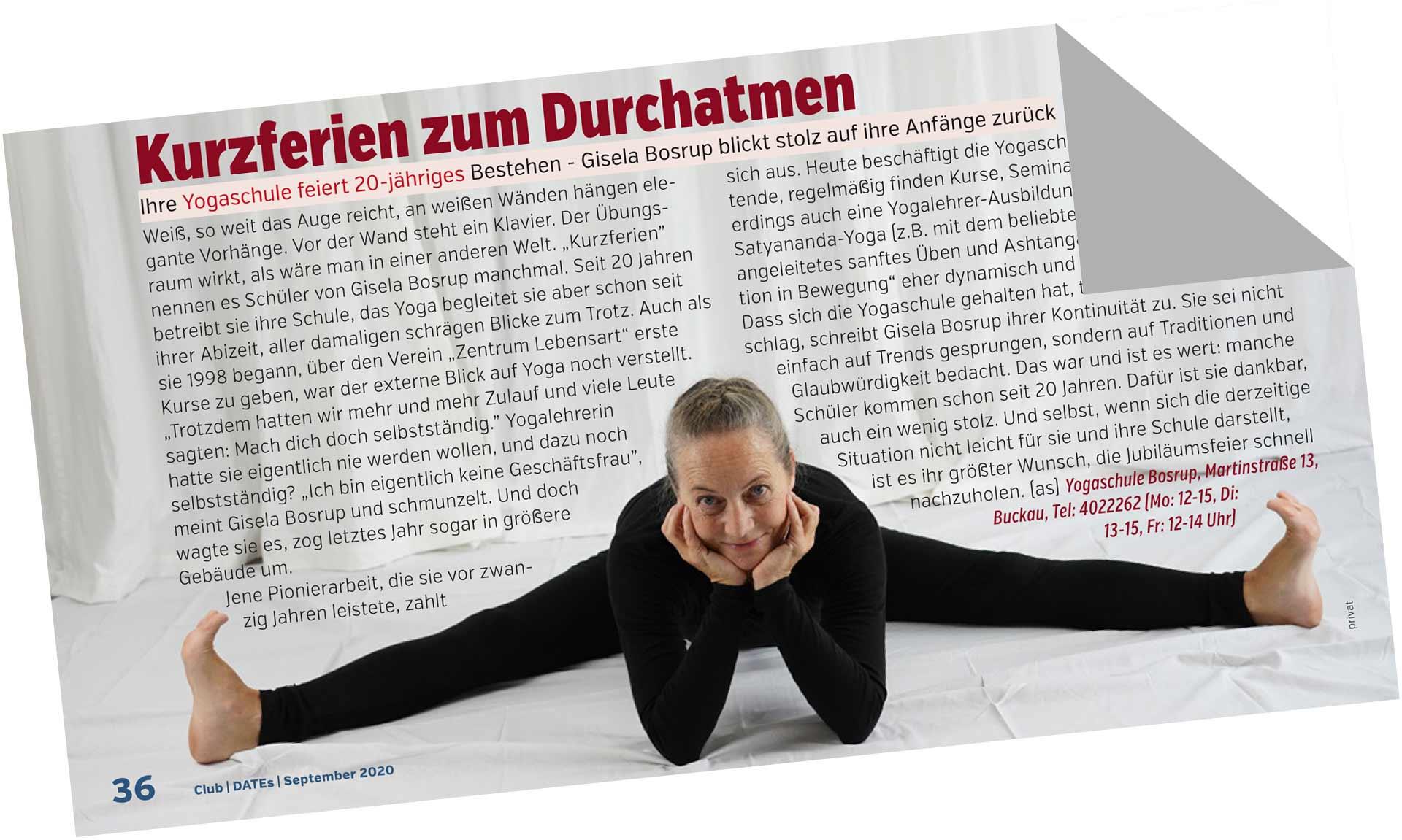 20 Jahre Yogaschule Bosrup - Beitrag im Dates